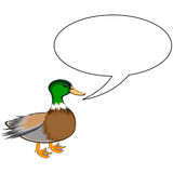 A funny cute duck with a talking bubble Stock Image