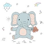 Funny cute elephant cartoon style. vector print.  Vector Illustration