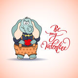 Funny Cute Elephant in Love Royalty Free Stock Image