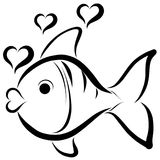 Funny cute fish and heart shaped bubbles royalty free illustration