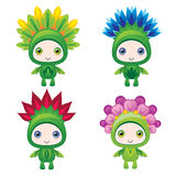 Funny cute flower monster guys Royalty Free Stock Photo