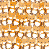 Funny cute fox seamless background, pattern. Vector Stock Images