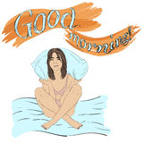 Funny Cute Girl With pillow in pijama. Good Morning. Vector Illustration Royalty Free Stock Image