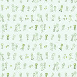 Funny and cute green seamless pattern with groups of odd looking people. Cute childish hand drawings set in a seamless pattern with green shades Stock Images