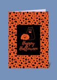 Funny and cute halloween vector greeting card in black and orange. Two cat eared carved pumpkins stock illustration