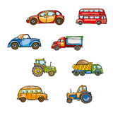 Funny cute hand drawn kids toy transport. Baby bright cartoon tractor, bus, truck, car, droll wheels, route, funny drive, beep bee Stock Photos