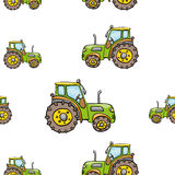 Funny cute hand drawn kids toy transport. Baby bright cartoon tractor vector seamless pattern on white background. Set of isolated elements. Chess grid order Royalty Free Stock Image