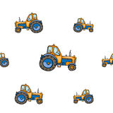 Funny cute hand drawn kids toy transport. Baby bright cartoon tractor vector seamless pattern on white background. Set of isolated elements. Chess grid order Stock Photos