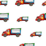 Funny cute hand drawn kids toy transport. Baby bright cartoon truck vector seamless pattern on white background. Set of isolated elements. Chess grid order Royalty Free Stock Images