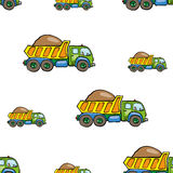 Funny cute hand drawn kids toy transport. Baby bright cartoon truck vector seamless pattern on white background. Set of isolated elements. Chess grid order Stock Image