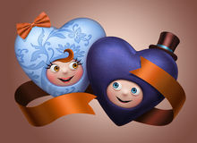 Funny cute happy Valentine hearts couple Stock Images