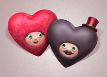 Funny cute happy Valentine lovers hearts royalty free illustration
