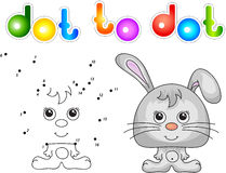 Funny and cute hare (rabbit). Vector illustration for children. Dot to dot game Royalty Free Stock Photos