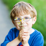Funny cute kid boy with glasses walking happily in field Royalty Free Stock Photo