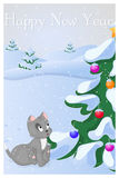 Funny and cute kitten saw Cristmas Tree at the first time. Merry Christmas and Happy New year card. Christmas card in. Cartoon style. Vector illustration. New Stock Image