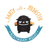 Funny Cute Little Black Monster Birthday Party Stock Photo