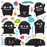 Funny Cute Little Black Monster Holiday Clip Art Royalty Free Stock Photos