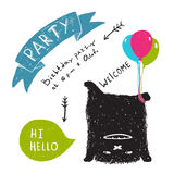 Funny Cute Little Black Monster Party Greeting Royalty Free Stock Image