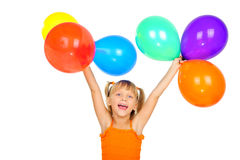 Funny cute little girl with baloons Royalty Free Stock Images