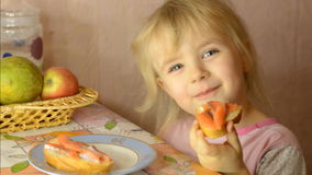 Funny Cute Little  Girl Eat Salmon Fis stock video footage