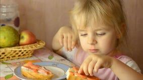Funny Cute Little Girl Eat Salmon Fish stock video