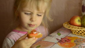 Funny Cute Little  Girl Eat Salmon  Fish stock video footage