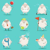Funny cute little sheep cartoon characters set for label design. Colorful detailed vector Illustrations  on Royalty Free Stock Images