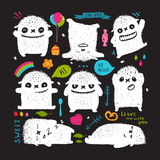 Funny Cute Little White on Black Monster Holiday Clip Art Collection Royalty Free Stock Images