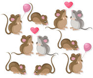 Funny cute mice couple characters in love. Cartoon Vector illustration Stock Photos