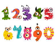 Funny cute monster numbers for halloween party event vector. Color numbers for mathematics and illustration number minsters for education royalty free illustration