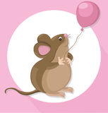 Funny cute mouse cartoon character with a baloon. Vector illustration Stock Image