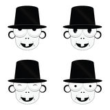 Funny and cute people head vector. Illustration on a white background Royalty Free Stock Photos