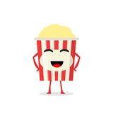 Funny and cute Popcorn character isolated on white background. Popcorn with smiling human face. Kids restaurant menu. Funny and cute Popcorn character isolated Stock Images
