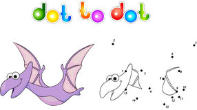 Funny cute pterodactyl. Educational game for kids. Connect digit Royalty Free Stock Photography