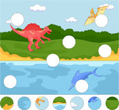 Funny cute pterodactyl, ichthyosaur and spinosaurus. Complete th Royalty Free Stock Images