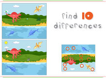 Funny cute pterodactyl, ichthyosaur and spinosaurus. Game for ki Royalty Free Stock Photos