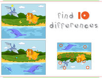 Funny cute pterodactyl, pliosaur and triceratops. Game for kids: Royalty Free Stock Photography