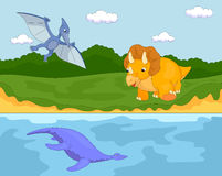 Funny cute pterodactyl, pliosaur and triceratops Royalty Free Stock Photo