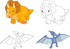 Funny cute pterodactyl and triceratops. Stock Photos