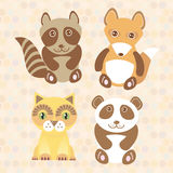 Funny cute raccoon, panda, fox, cat on dot background. Vector Stock Photos