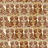 Funny cute raccoon seamless background, pattern. Vector Stock Image