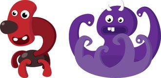 Funny cute red and purple monsters Stock Photos