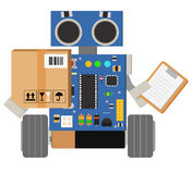 Funny and cute robot deliverer. Funny and cute robot from the delivery service delivers your parcels Stock Photography