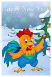 Funny and cute Rooster with Christmas Tree. Merry Christmas and Happy New year card. Christmas card in cartoon style. Funny and cute Rooster with Christmas Tree Stock Images