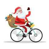 Funny cute Santa Claus riding on the bike. With a bag full of gifts. Mery Christmas and a Happy New Year greeting. Isolated vector illustration in cartoon style vector illustration