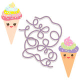 Funny cute set  Ice cream waffle cone on white background. labyrinth game for Preschool Children. Vector. Illustration Royalty Free Stock Photos