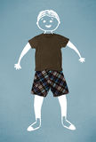 Funny cute smiley character in casual clothes Stock Images