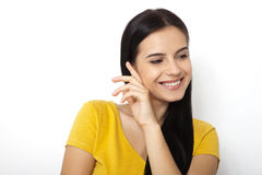 Funny cute smiling woman. Laughing girl, closeup beautiful face isolated Royalty Free Stock Photos