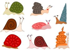 Funny cute snails. Illustration of funny cute colorful snails Stock Image