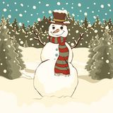 Funny cute snowman, cartoon colorful drawing, vector illustration. Painted snowman with hat and scarf in the winter forest park ag royalty free illustration